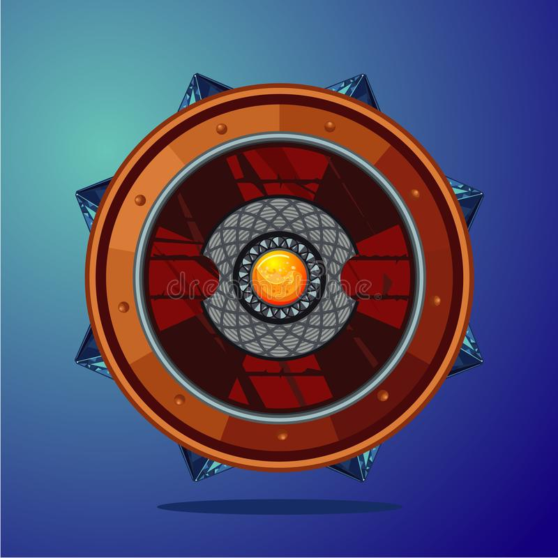 Ασπίδα φαντασίας Μαγικό όπλο με το κρύσταλλο Έννοια σχεδίου παιχνιδιών ελεύθερη απεικόνιση δικαιώματος