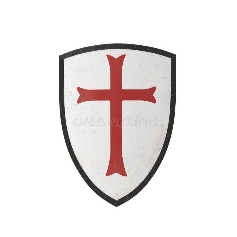 Ασπίδα Templar ιπποτών στο λευκό τρισδιάστατη απεικόνιση διανυσματική απεικόνιση