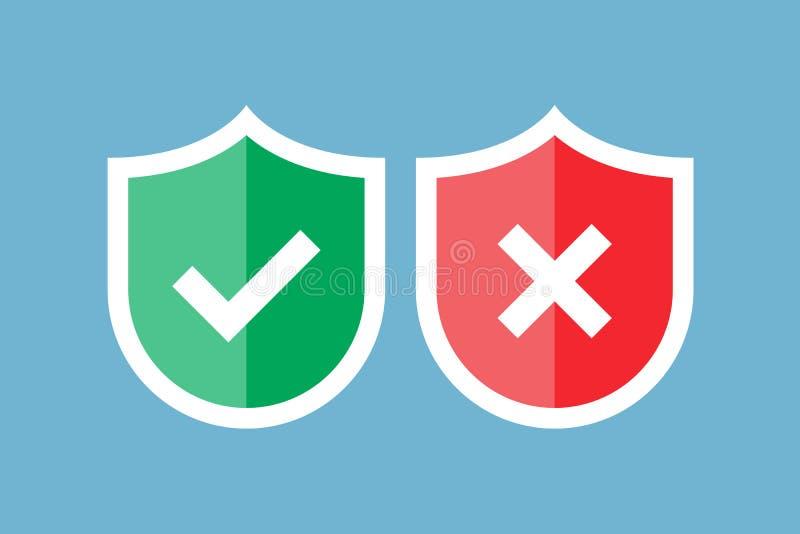 Ασπίδες και σημάδια ελέγχου Κόκκινη και πράσινη ασπίδα με checkmark και το σημάδι Χ Εγκεκριμένος και απορριφθείς Προστασία, ασφάλ απεικόνιση αποθεμάτων