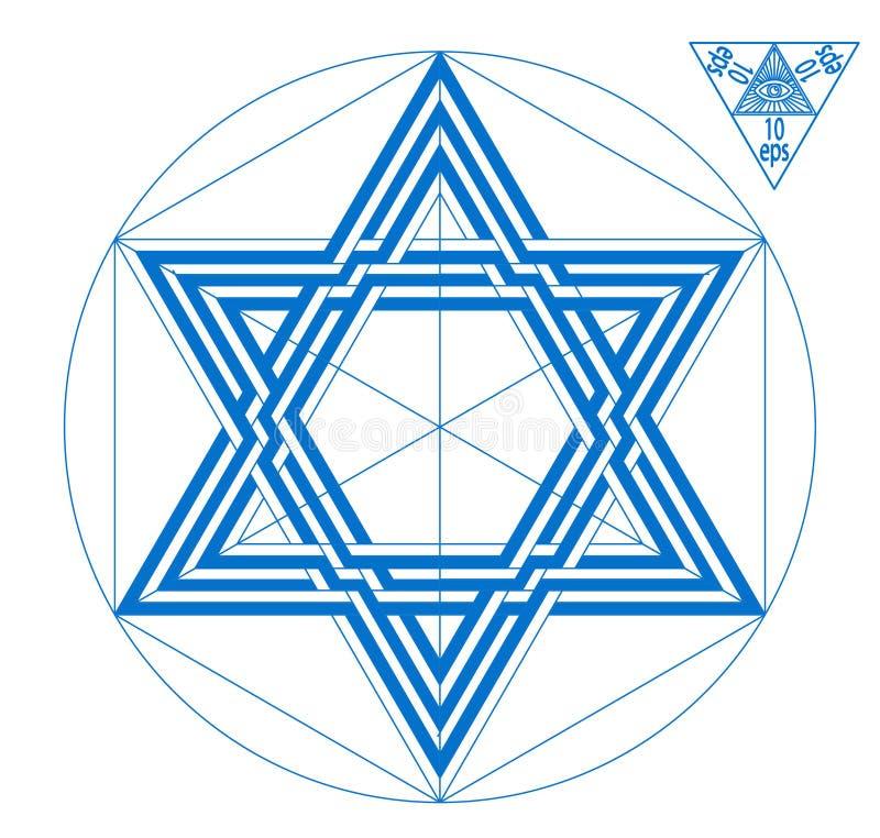 Ασπίδα αστεριών του Δαυίδ του Δαβίδ διανυσματική απεικόνιση