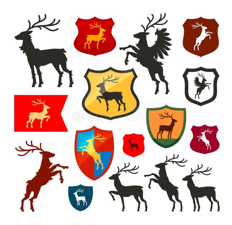 Ασπίδα με τα ελάφια, τάρανδος, διανυσματικό λογότυπο αρσενικών ελαφιών Κάλυψη των όπλων, καθορισμένα εικονίδια οικοσημολογίας απεικόνιση αποθεμάτων