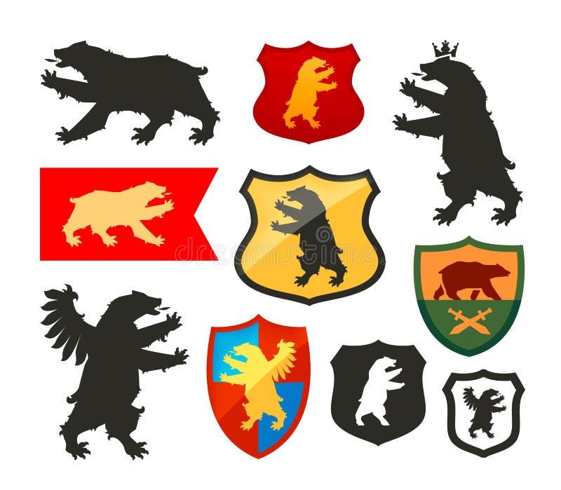 Ασπίδα με το διανυσματικό λογότυπο αρκούδων Κάλυψη των όπλων, καθορισμένα εικονίδια οικοσημολογίας απεικόνιση αποθεμάτων