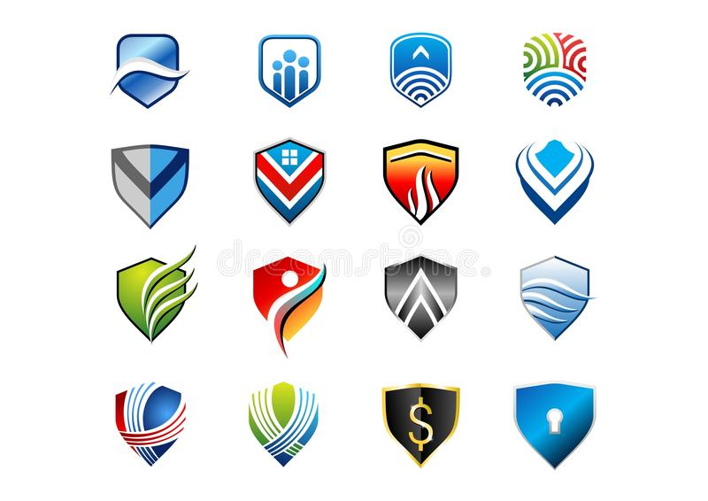 Ασπίδα, λογότυπο, έμβλημα, προστασία, ασφάλεια, ασφάλεια, σύνολο συλλογής του διανυσματικού σχεδίου εικονιδίων συμβόλων ασπίδων διανυσματική απεικόνιση