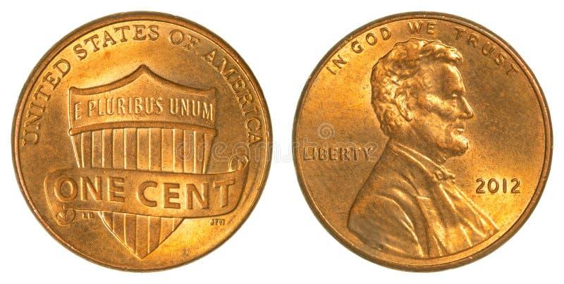 Ασπίδα του Λίνκολν νόμισμα ενός σεντ στοκ εικόνα
