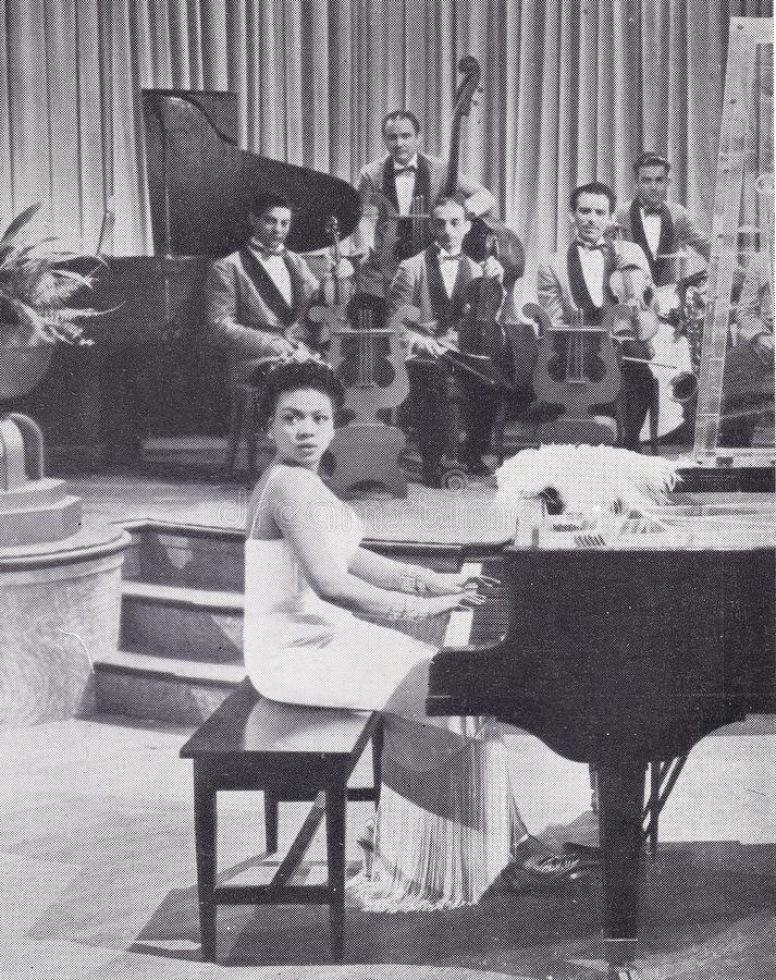 Ασπρόμαυρη φωτογραφία της 'Νυχτερινής Τζαζ' στοκ εικόνες
