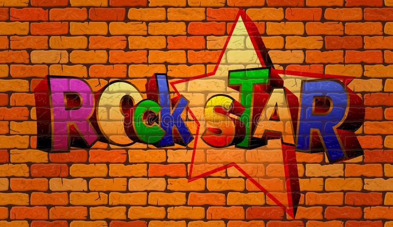 Αστέρας της ροκ γκράφιτι στον τοίχο ελεύθερη απεικόνιση δικαιώματος