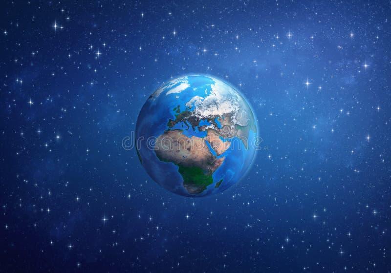 αστέρια γήινων πλήρη πλανητών ανασκόπησης Ευρώπη, Αφρική και Ασία από το διάστημα διανυσματική απεικόνιση
