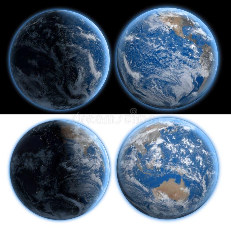 αστέρια γήινων πλήρη πλανητών ανασκόπησης άποψη νύχτας και ημέρας απομονώστε τρισδιάστατη απόδοση στοκ εικόνες με δικαίωμα ελεύθερης χρήσης