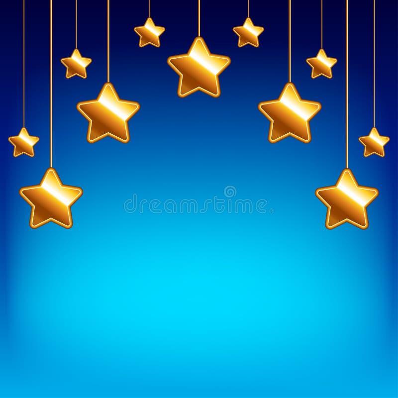 Αστέρια κινούμενων σχεδίων στο διανυσματικό υπόβαθρο μπλε ουρανού ελεύθερη απεικόνιση δικαιώματος