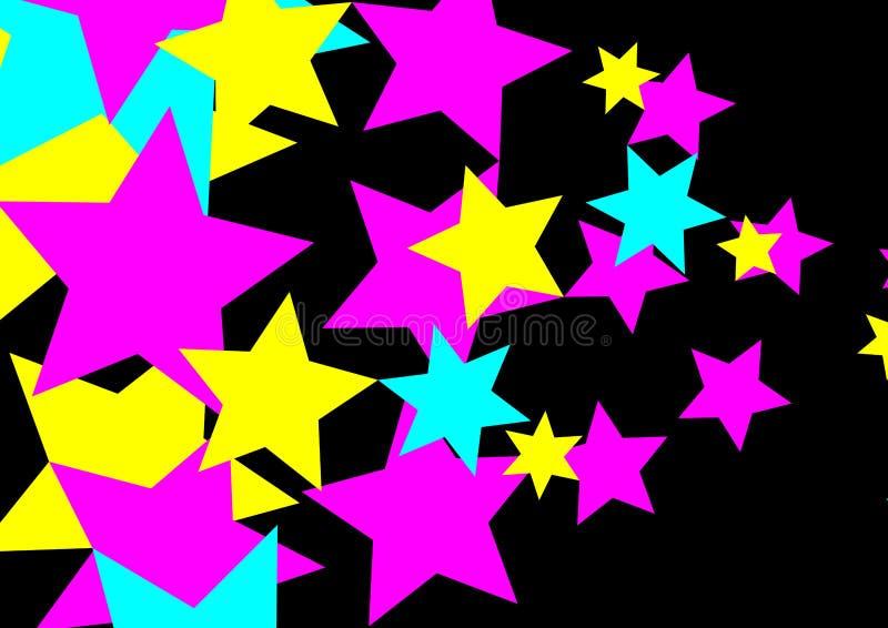 Αστέρια κόμματος CMYK στο μαύρο σχέδιο ράστερ PNG υποβάθρου στοκ φωτογραφίες με δικαίωμα ελεύθερης χρήσης