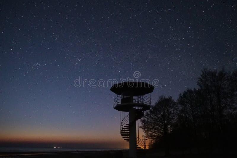 Αστέρια νυχτερινού ουρανού και γαλακτώδης τρόπος που παρατηρούν, αστερισμός Perseus στοκ εικόνες
