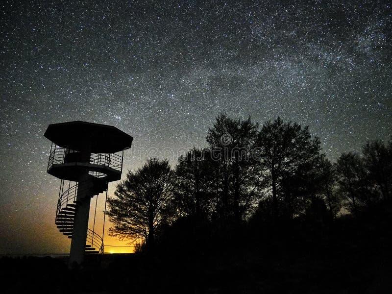 Αστέρια νυχτερινού ουρανού και γαλακτώδης τρόπος που παρατηρούν, αστερισμός Perseus στοκ εικόνες με δικαίωμα ελεύθερης χρήσης