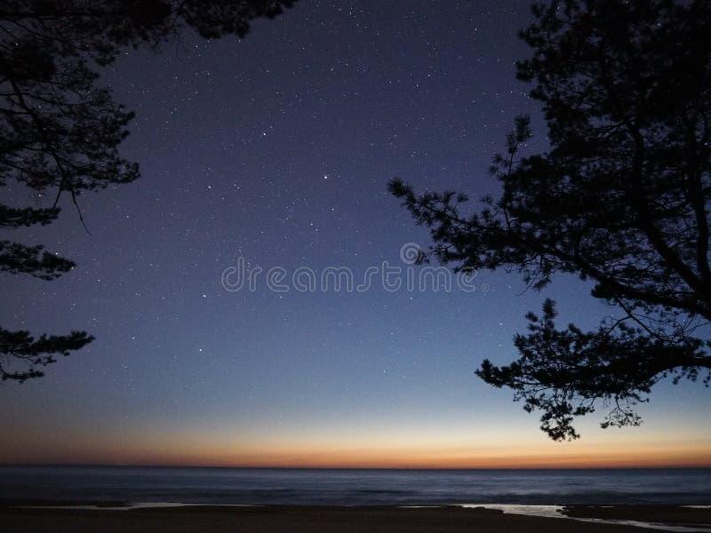 Αστέρια νυχτερινού ουρανού και γαλακτώδης τρόπος που παρατηρούν, Auriga αστερισμός στοκ εικόνα