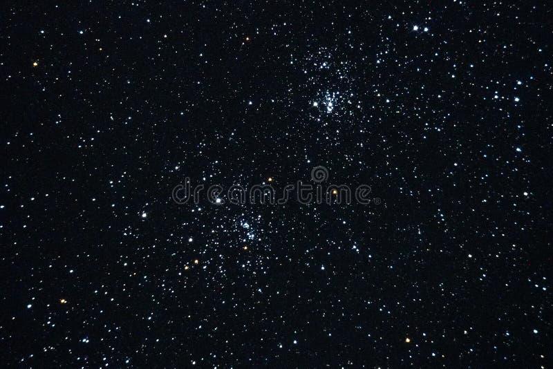 Αστέρια νυχτερινού ουρανού και διπλή παρατήρηση συστάδων στοκ εικόνα με δικαίωμα ελεύθερης χρήσης
