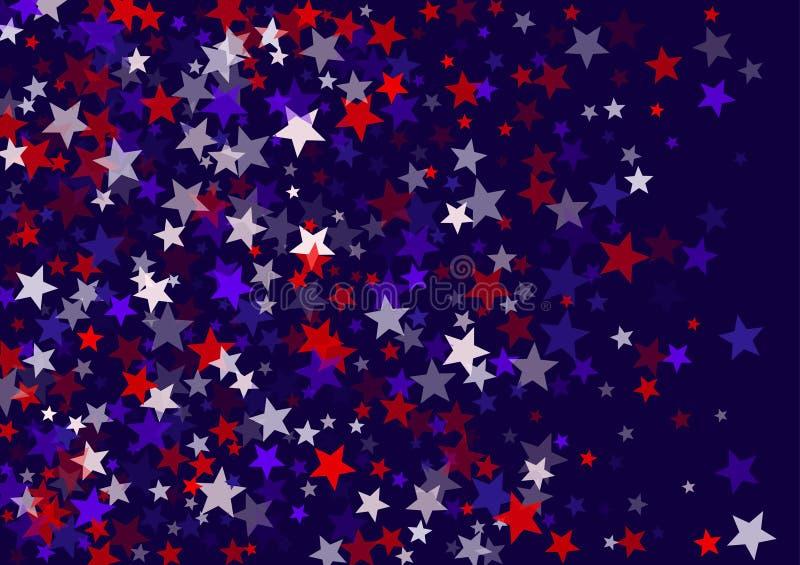 Αστέρια στις 4 Ιουλίου ΑΜΕΡΙΚΑΝΙΚΗΣ ημέρας της ανεξαρτησίας που πετούν το διανυσματικό υπόβαθρο εμβλημάτων στα χρώματα αμερικανικ ελεύθερη απεικόνιση δικαιώματος