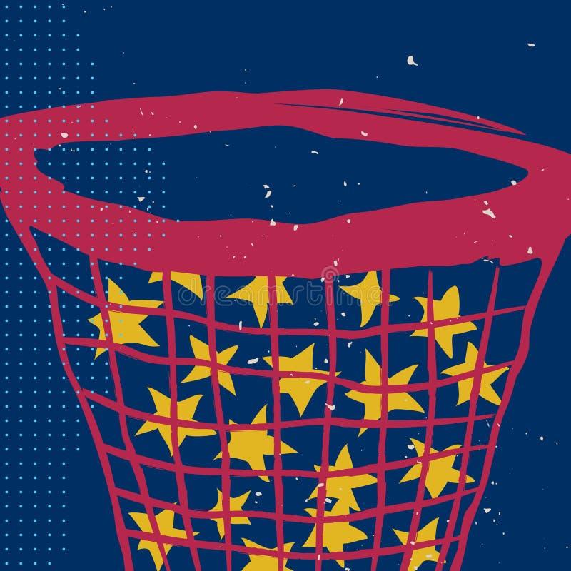 Αστέρια στο δίχτυ στο νυχτερινό ουρανό αφίσα απεικόνιση αποθεμάτων