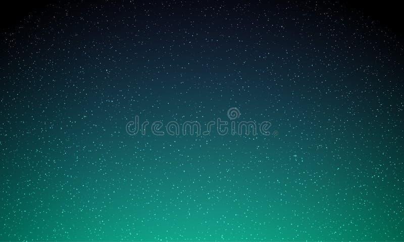 Αστέρια στο νυχτερινό ουρανό, έναστρο ελαφρύ, διανυσματικό διαστημικό υπόβαθρο γαλαξιών Η βόρεια πυράκτωση φω'των αυγής, νέο μαγι διανυσματική απεικόνιση