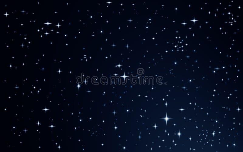 Αστέρια στο νυχτερινό ουρανό διανυσματική απεικόνιση