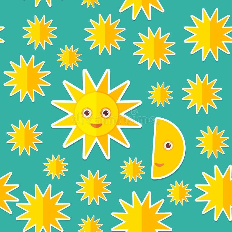 Αστέρια φεγγαριών ήλιων στο μπλε άνευ ραφής σχέδιο νυχτερινού ουρανού Σύγχρονο ύφος επίπεδο διάνυσμα διανυσματική απεικόνιση