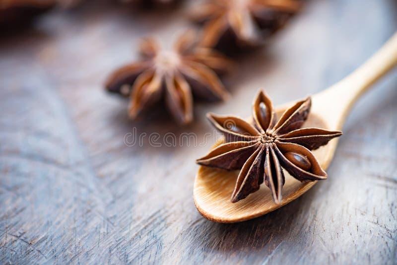 Αστέρι γλυκάνισου στο ξύλινο κουτάλι στοκ φωτογραφία με δικαίωμα ελεύθερης χρήσης