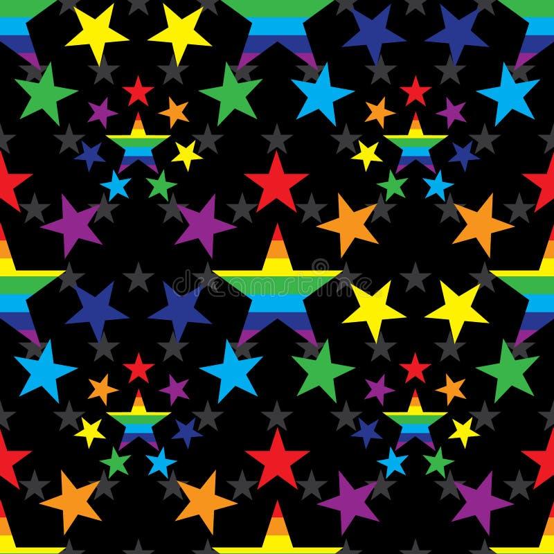 Αστέρι γύρω από το άνευ ραφής σχέδιο χρώματος ουράνιων τόξων ελεύθερη απεικόνιση δικαιώματος
