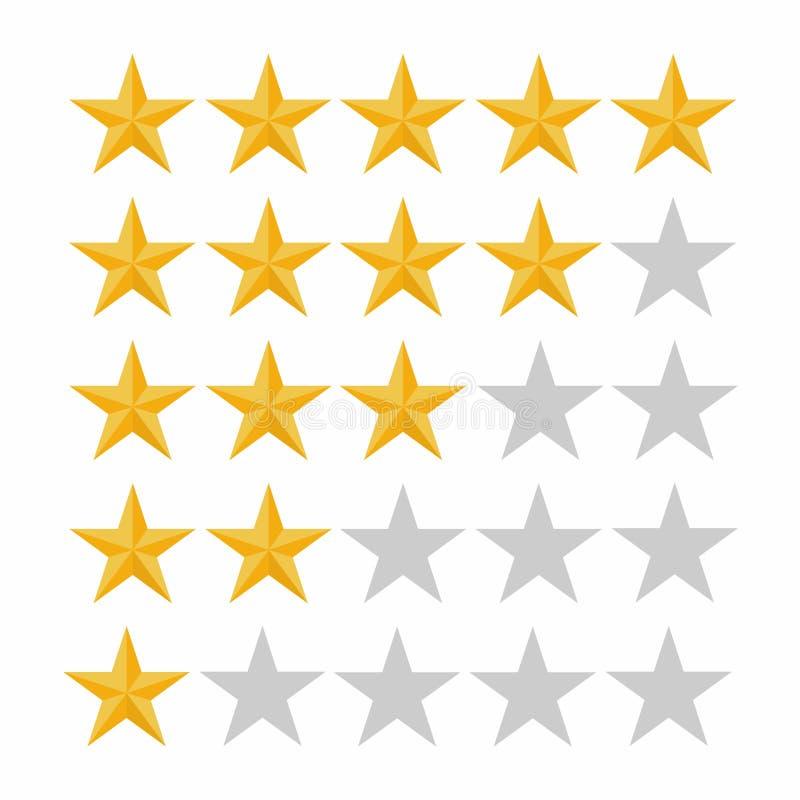 Αστέρι εκτίμησης πέντε Έννοια αναθεώρησης, εκτίμησης, ποιότητας και επιπέδων πελατών διανυσματική απεικόνιση