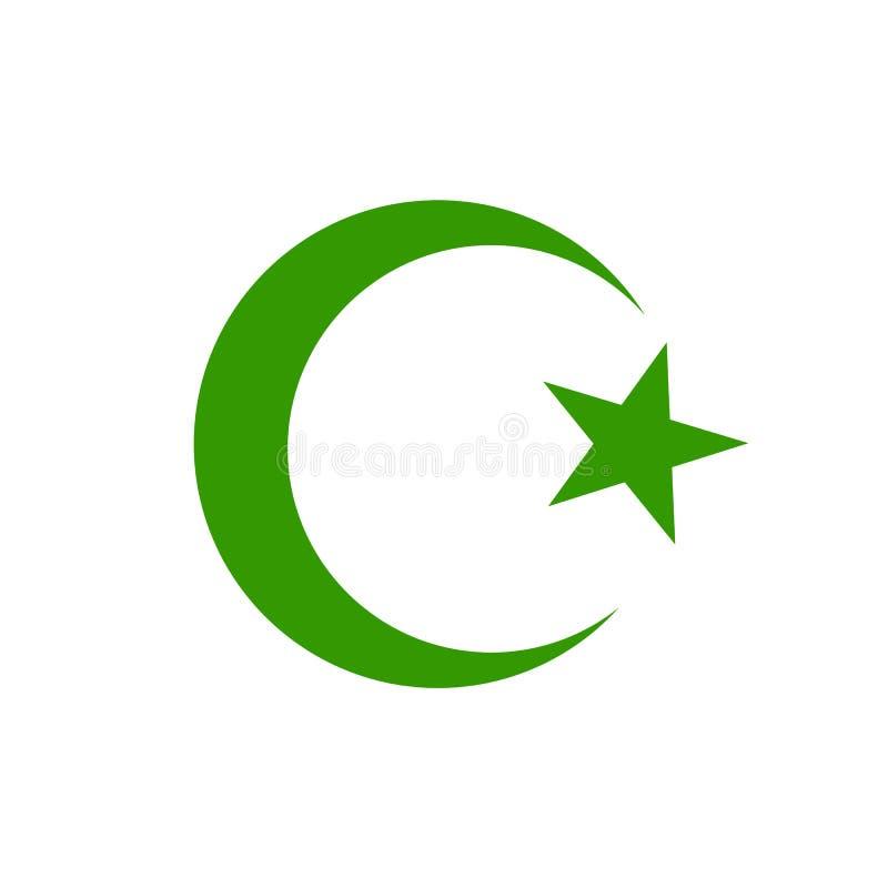 Αστέρι και ημισεληνοειδές φεγγάρι, πράσινο εικονίδιο Ισλαμικό θρησκευτικό σημάδι συμβόλων για τον Ιστό έννοιας και apps σχέδιο στ απεικόνιση αποθεμάτων