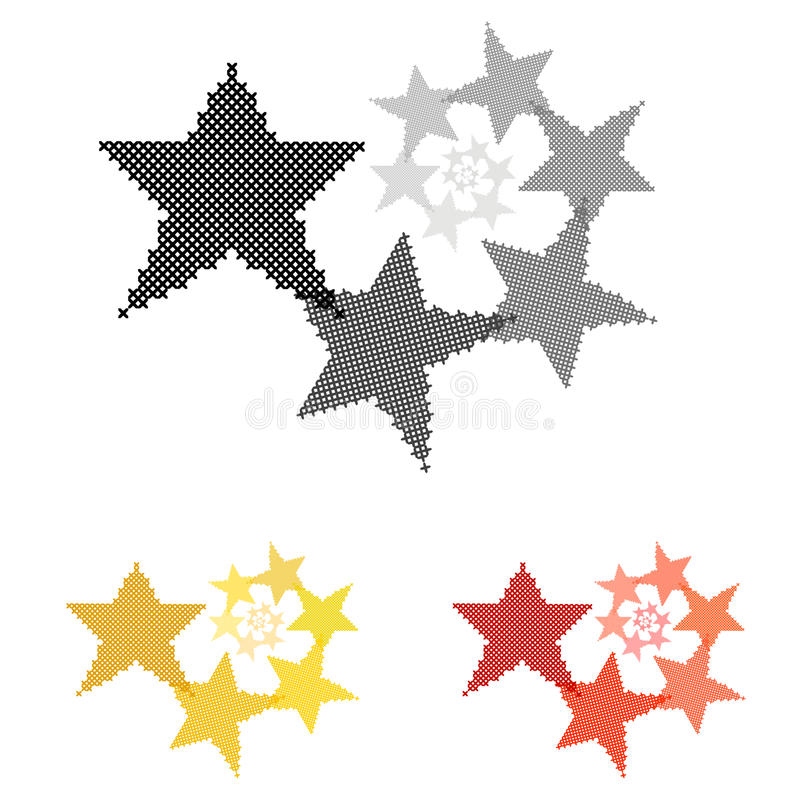 Αστέρι Κυκλική διακόσμηση Μείωση του μεγέθους Διαγώνιος-βελονιά απεικόνιση αποθεμάτων