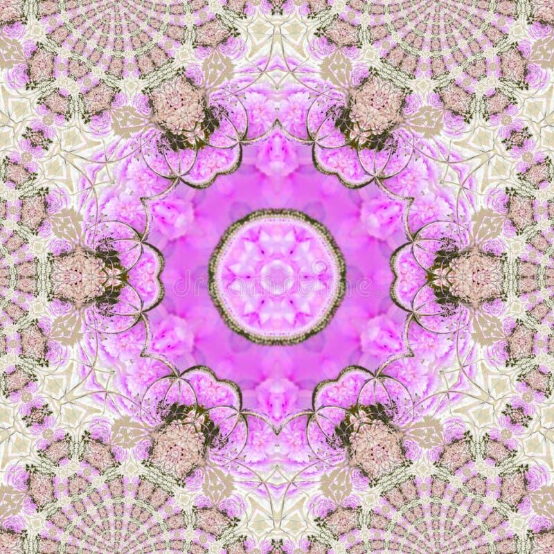 Αστέρι λουλουδιών ύφους Mehndi καλειδοσκόπιων με floral fractal απεικόνισης watercolor κύκλων απεικόνιση αποθεμάτων