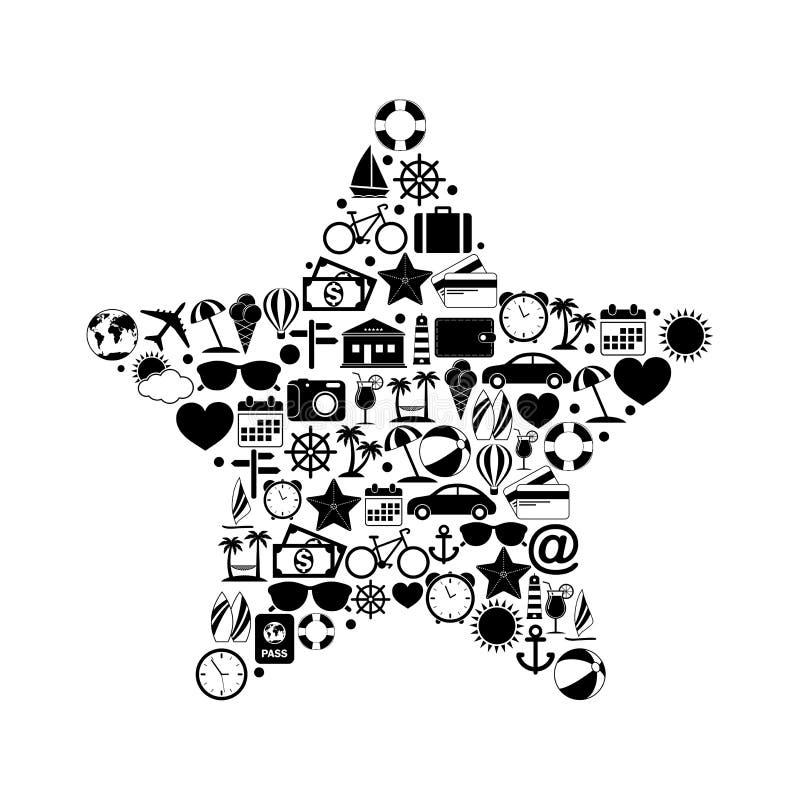 Αστέρι με τα εικονίδια ταξιδιού ελεύθερη απεικόνιση δικαιώματος