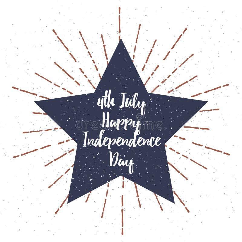Αστέρι με τη διανυσματικές απεικόνιση σύστασης Grunge και την εγγραφή ημέρας της ανεξαρτησίας 4 Ιουλίου διάνυσμα διανυσματική απεικόνιση
