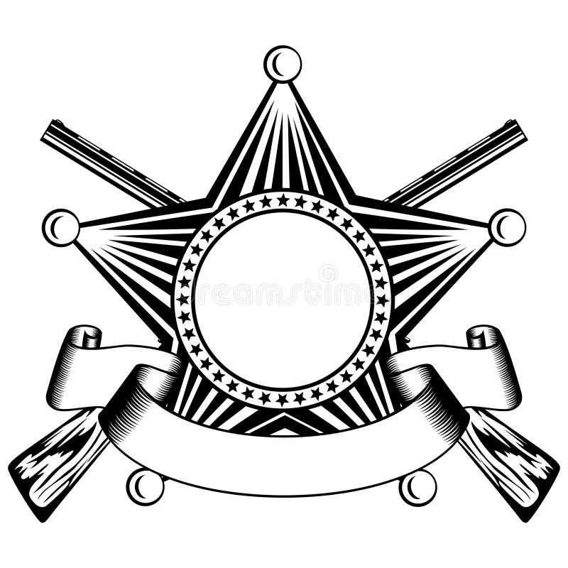 Αστέρι πέντε δειγμένο σερίφηδων και διασχισμένα κυνηγετικά όπλα διανυσματική απεικόνιση