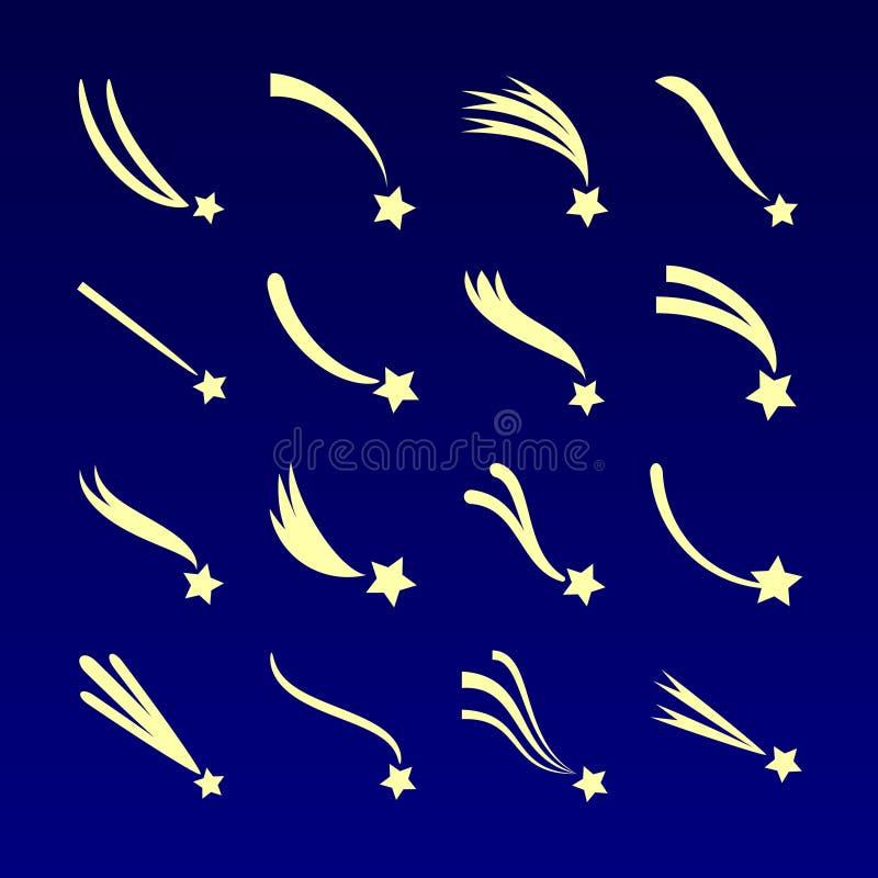 Αστέρι πυροβολισμού, διανυσματικά εικονίδια σκιαγραφιών κομητών που απομονώνονται στο σκούρο μπλε υπόβαθρο απεικόνιση αποθεμάτων