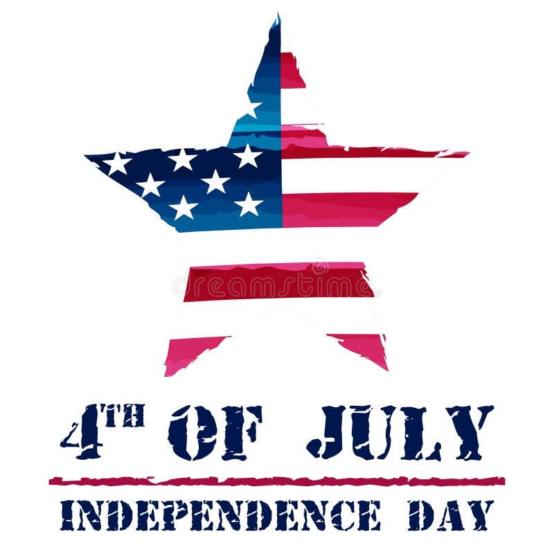 Αστέρι στη σημαία ΑΜΕΡΙΚΑΝΙΚΩΝ σχεδίων και 4ος του Ιουλίου - αμερικανική ανεξαρτησία διανυσματική απεικόνιση