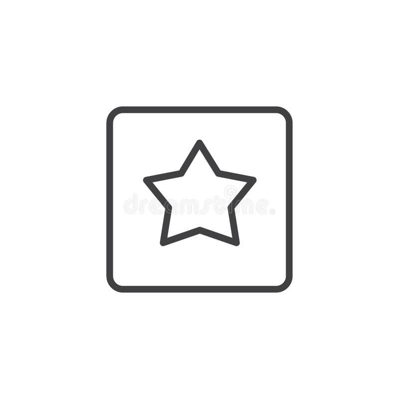 Αστέρι στο τετραγωνικό εικονίδιο περιλήψεων ελεύθερη απεικόνιση δικαιώματος