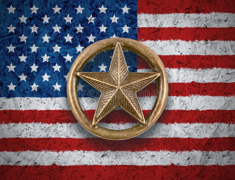 Αστέρι χαλκού στο υπόβαθρο αμερικανικών σημαιών στοκ εικόνες