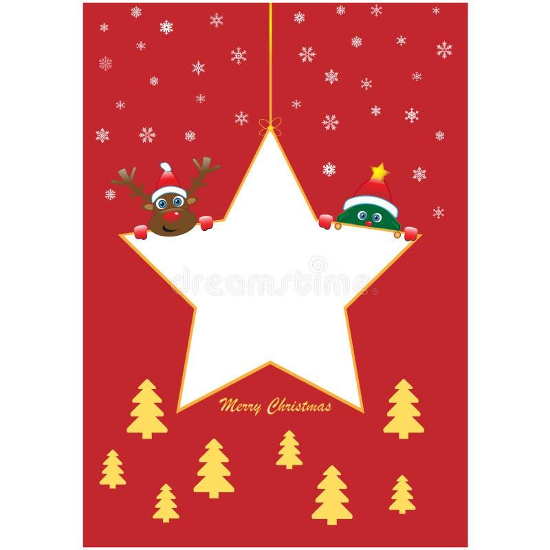 Αστέρι Χριστουγέννων με το δέντρο και το Rudolf ελεύθερη απεικόνιση δικαιώματος