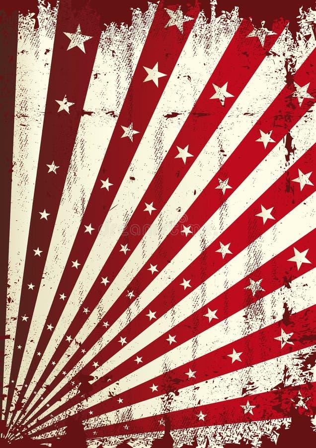 Αστέρι Grunge και κόκκινο υπόβαθρο ηλιαχτίδων διανυσματική απεικόνιση