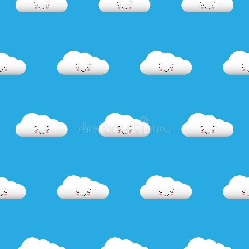 Αστεία άσπρα σύννεφα Kawaii καθορισμένα, ρύγχος με τα ρόδινα μάγουλα και τα μάτια κλεισίματος του ματιού Άνευ ραφής σχέδιο στο μπ ελεύθερη απεικόνιση δικαιώματος