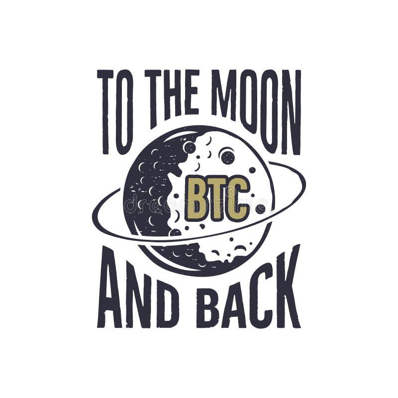 Αστεία έννοια Bitcoin της μεταβολής των τιμών BTC στο φεγγάρι και το πίσω απόσπασμα Blockchain και ψηφιακή ετικέτα προτερημάτων Α απεικόνιση αποθεμάτων