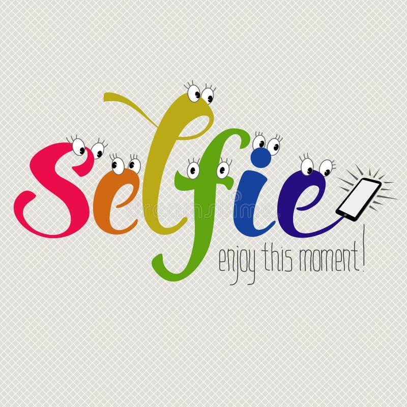 Αστεία λέξη selfie ελεύθερη απεικόνιση δικαιώματος