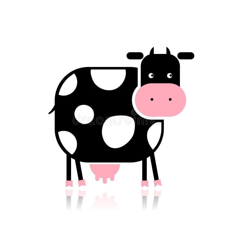 Αστεία αγελάδα για το σχέδιό σας απεικόνιση αποθεμάτων