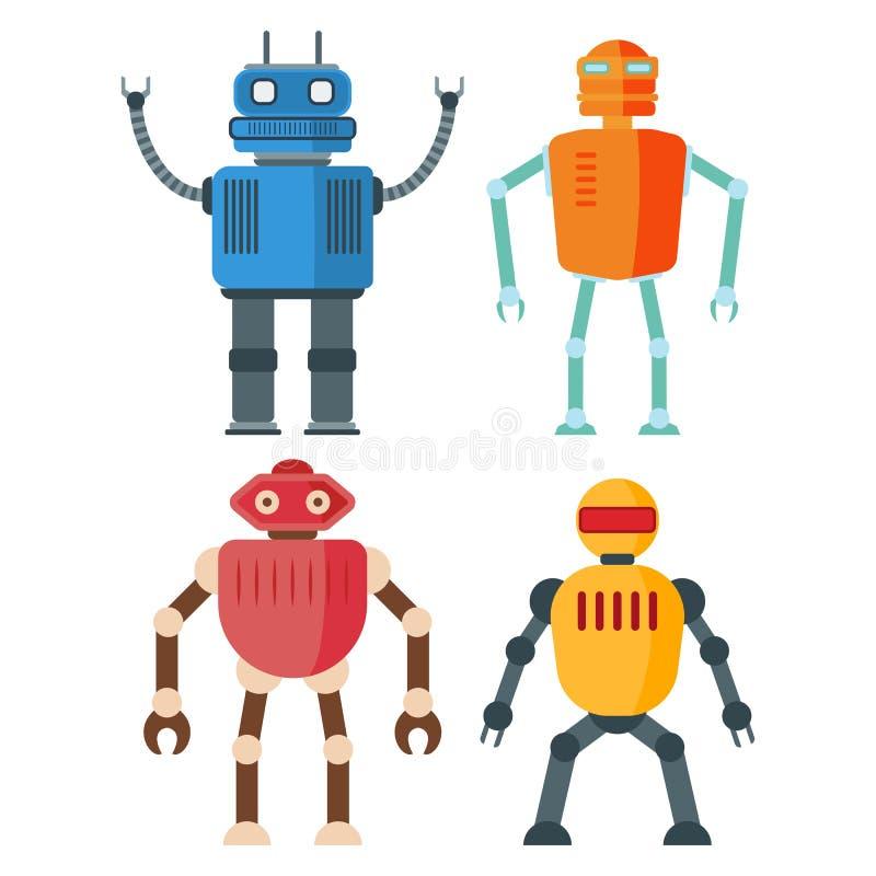 Αστεία αναδρομικά ρομπότ που απομονώνονται στο άσπρο backgroun απεικόνιση αποθεμάτων