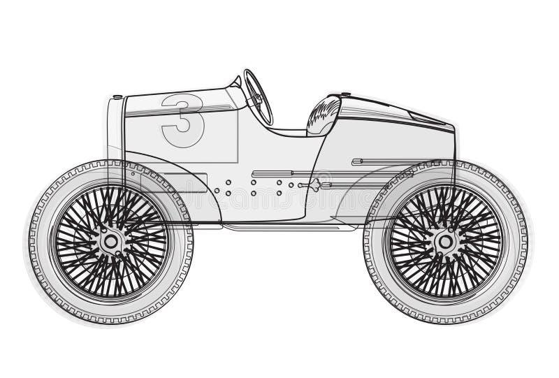 Αστεία αναδρομική μελλοντική αφίσα αυτοκινήτων καλωδίων κοντή στο λευκό απεικόνιση αποθεμάτων