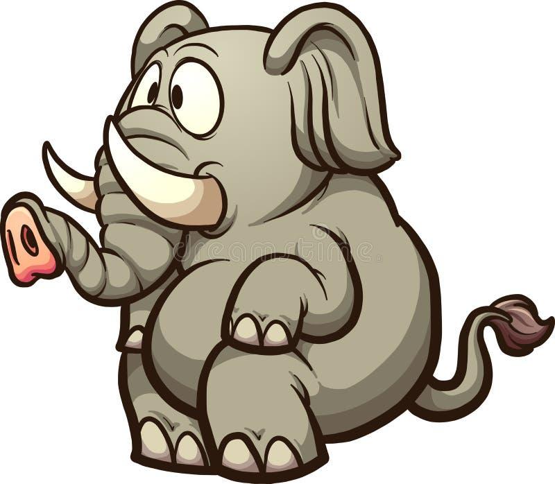 αστεία απεικόνιση Ινδός ελεφάντων κινούμενων σχεδίων διανυσματική απεικόνιση