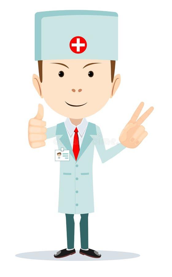 Αστεία απεικόνιση κινούμενων σχεδίων ενός φιλικού γιατρού απεικόνιση αποθεμάτων