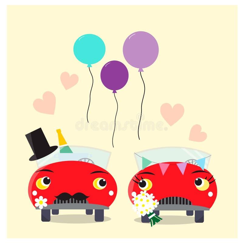 Αστεία αυτοκίνητα - νύφη και νεόνυμφος γάμος δεσμών κοσμήματος κρυστάλλου λαιμοδετών ζευγών διανυσματική απεικόνιση