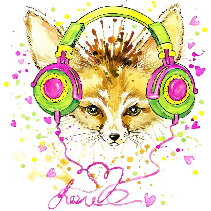 Αστεία αλεπού Fennec και μοντέρνα ακουστικά με τον παφλασμό watercolor κατασκευασμένο απεικόνιση αποθεμάτων