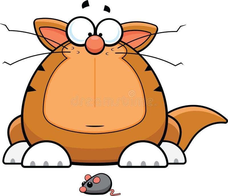 Αστεία γάτα κινούμενων σχεδίων με το ποντίκι παιχνιδιών ελεύθερη απεικόνιση δικαιώματος