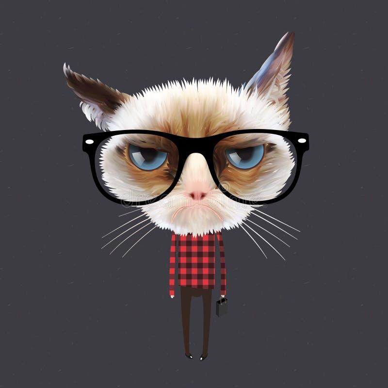 Αστεία γάτα κινούμενων σχεδίων διανυσματική απεικόνιση